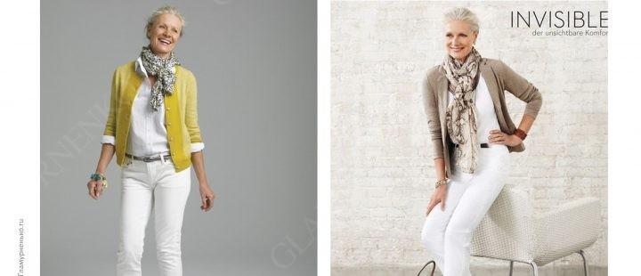 Белый образ с шарфом приглушенного цвета для цветотипа «лето»