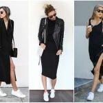 Черное платье ниже колен и белые сникерсы.