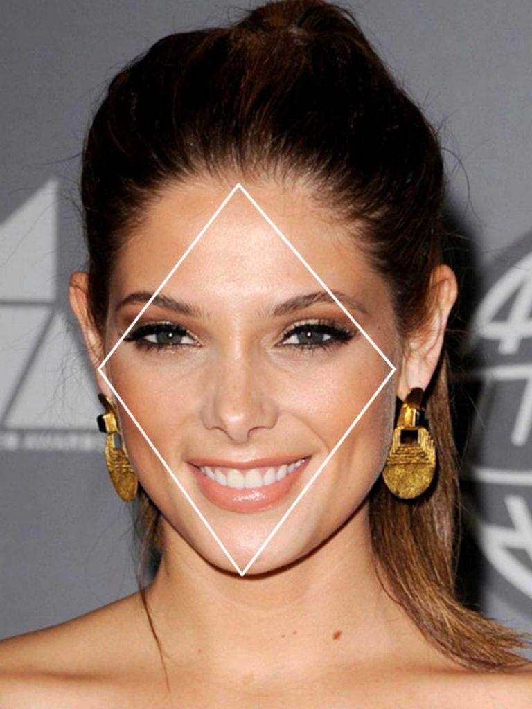 Отличительные особенности лица формы «ромб» или «алмаз» - узкий лоб и подбородок и широкие скулы