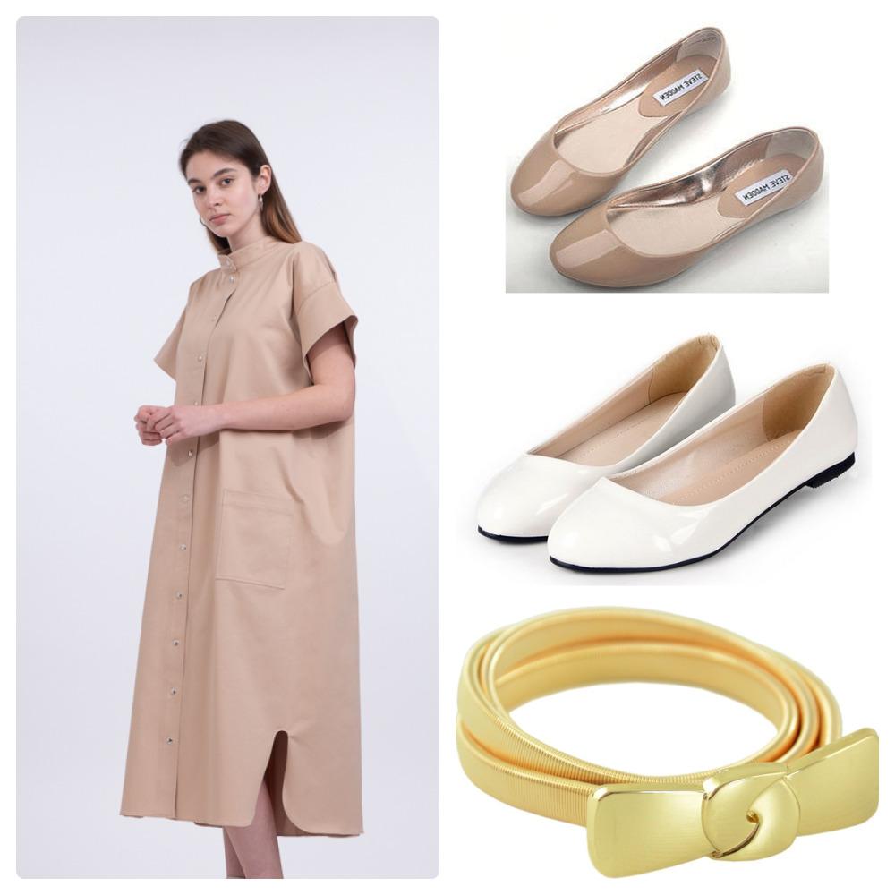 Платье–рубашка и открытые светлые балетки – образец летнего тандема для свободного времени