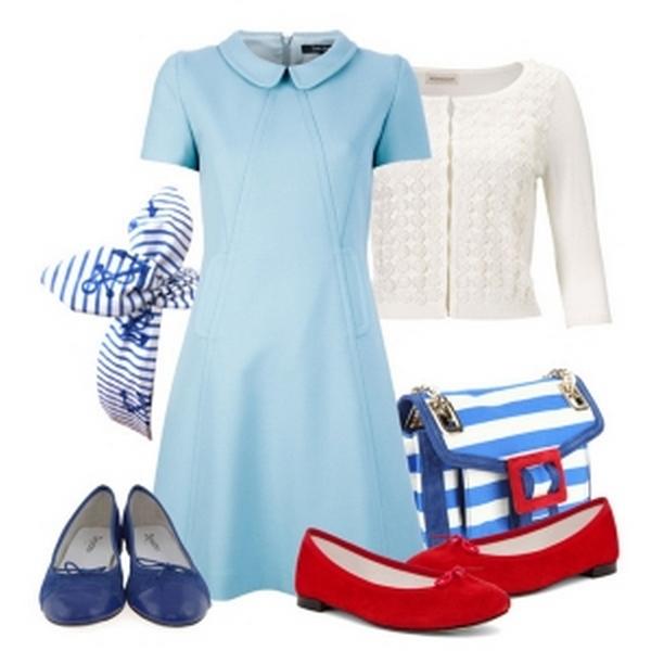 Аквамариновые, голубые, бирюзовые вещи – лучшие компаньоны балеток синего цвета