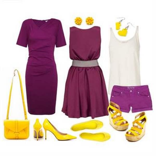 Яркий и броский ансамбль – ярко-фиолетовое платье, желтые балетки и аксессуары такого же цвета