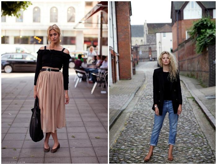 Балетки в оттенках темного бежа гармоничны в луках с традиционными джинсами и легкими монохромными юбками