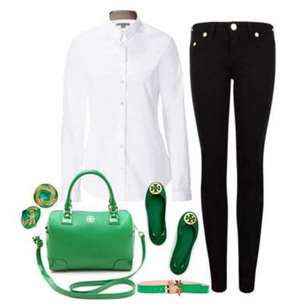 Зеленые балетки способны освежить капсулу с самыми строгими и лаконичными вещами – черными джинсами и белой рубашкой