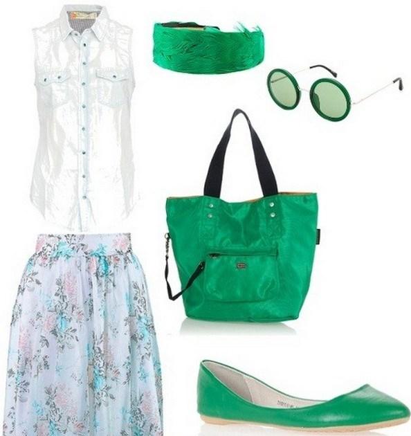 Комплект из легкой цветной юбочки, белой блузки и ярко-зеленых балеток – лучшее решение образа для романтического свидания