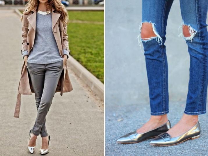 Узкие темно-серые брючки или ярко-синие джинсы – отличные компаньоны для серебряных балеток