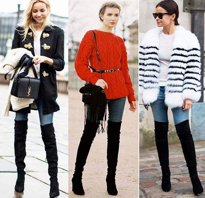 Высокие ботфорты с узкими джинсами – популярный тандем современных модниц