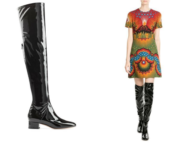 Смелый выбор – черные лаковые сапоги и черное разноцветное платье прямого кроя
