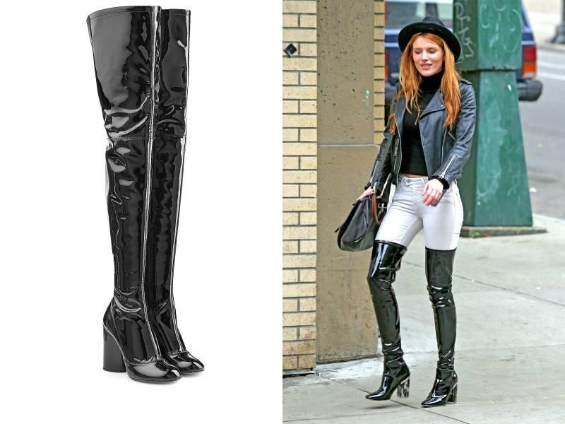 Узкие джинсы-скинни, идеально обтягивающие ногу – лучший выбор для аутфита с лаковыми ботфортами