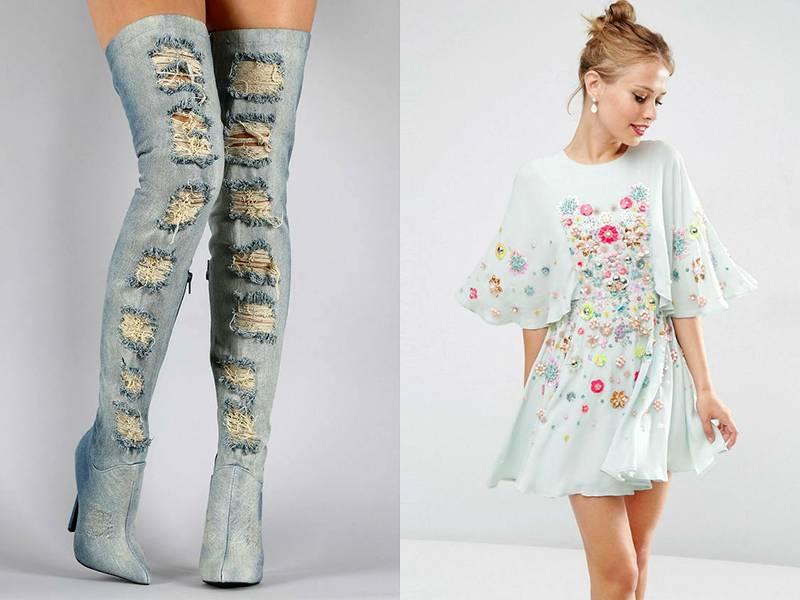 Голубые джинсовые ботфорты – экстравагантная деталь романтичного образа с расшитым шифоновым платьем того же оттенка