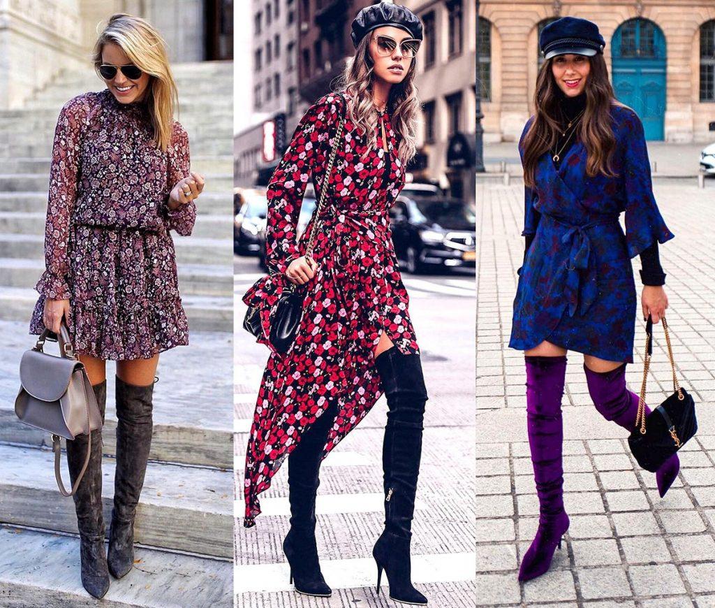 Легкое платье из шифона в темно-синей гамме и ярко-фиолетовые велюровые ботфорты – эффектный образ для торжественного случая