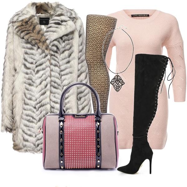 С ботфортами базового черного или любого другого цвета роскошный лук просто создать по принципу контраста с розовым, черным и белым