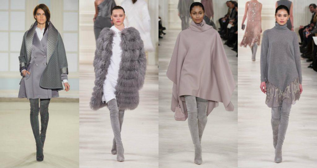Различные оттенки серого в ботфортах дают интересные сочетания с одеждой пудрового, светло и темно-серого, нежно-фиолетового цветов