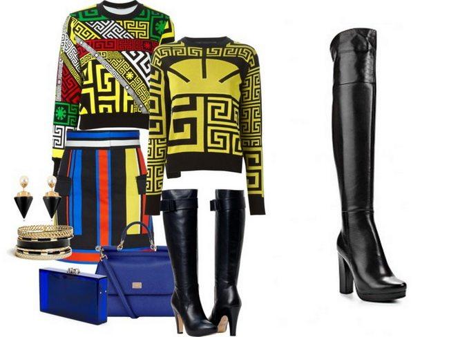 Нетривиальные образы формируются с черными ботфортами из матовой кожи, разноцветной юбки и свитшота с яркими геометрическими принтами