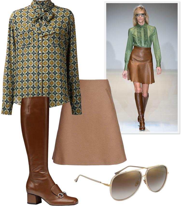 Стильный деловой лук с коричневыми ботфортами, юбкой-трапецией и закрытой блузкой