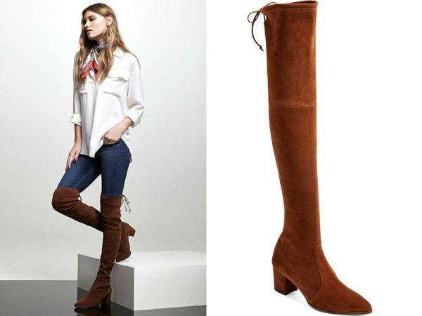 Ботфорты спокойного коричневого цвета выше колен в повседневном луке с джинсами-скинни и просторной белой рубашкой