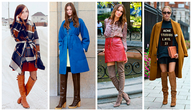 Различные оттенки коричневого позволяют миксовать ботфорты такого оттенка и одежду синего, красного, ярко-синего цветов