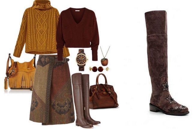 Эффектный образ в стиле бохо-шик собирается с коричневыми замшевыми ботфортами без каблука и юбкой-миди, а также сумкой и свитером в одной цветовой гамме