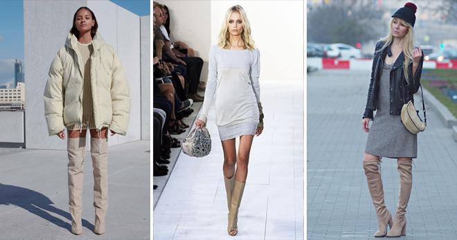 Хорошо дополнять луки с бежевыми ботфортами из кожи прямыми платьями, свободными куртками
