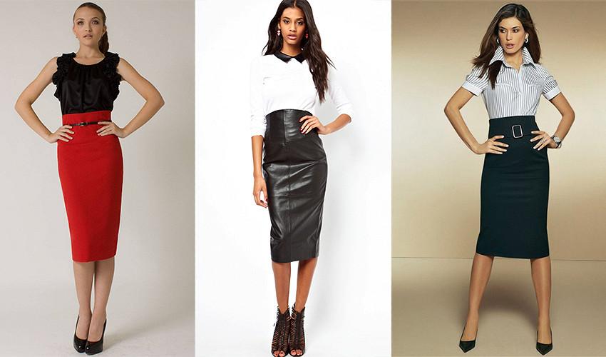 Классический верх в виде топа или рубашки - лучшее дополнением юбки карандаш с завышенной талией.