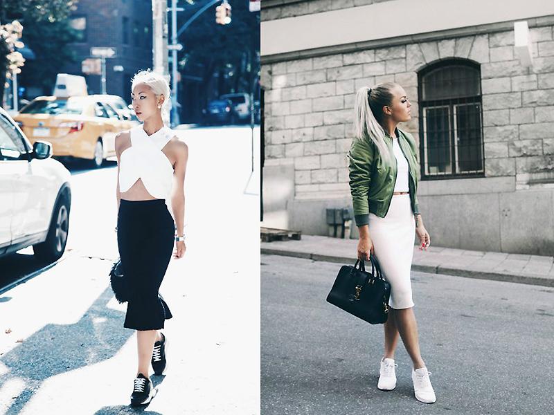 Черная и белая юбка карандаш отлично смотрится с кроссовками в тон.