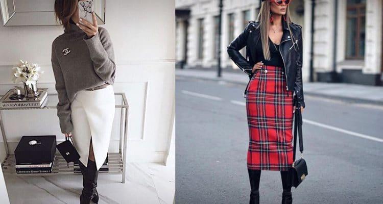 Свитер или куртка-косуха прекрасно завершит осенний образ с юбкой карандаш.