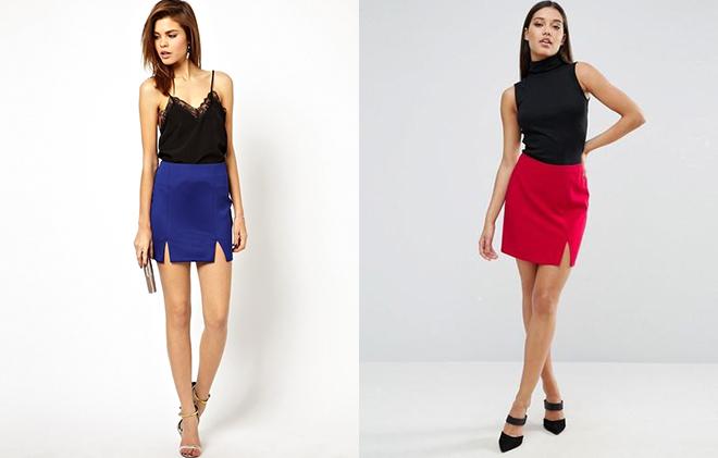 Мини юбка карандаш с разрезами подчеркнет длину ног и красоту бедер, сочетайте ее с лаконичным верхом.