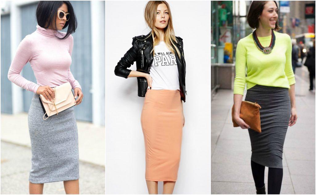 Трикотажные юбки карандаш великолепно смотрятся в сочетании с однотонным верхом.