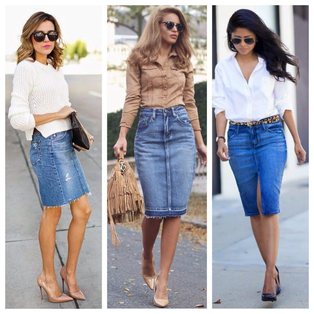 Белый или песочный оттенок рубашки - лучшее решение, чтобы дополнить джинсовую юбку карандаш.