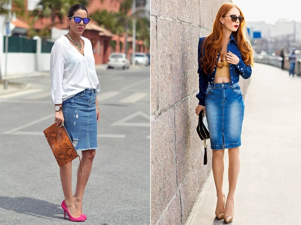 Белая рубаха или джинсовая куртка - лучшая пара к юбке карандаш из джинса.