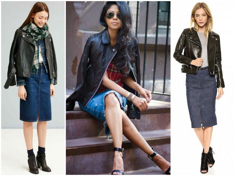 Черная куртка станет отличных завершающим штрихом осеннего ансамбля с джинсовой юбкой карандашом.