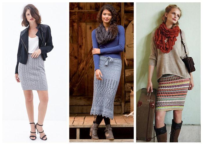 Вязаные юбки карандаш смотрятся очень уютно и мило, подходят для создания осенних образов.