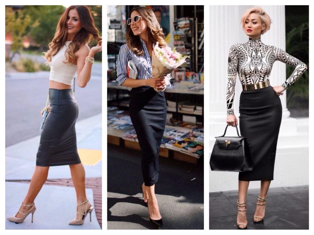 Черная юбка карандаш сочетается практически с любым верхом, как однотонным, так и с рисунком.