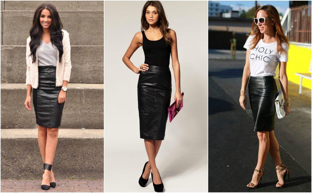 Черный+черный и черный+белый - два идеальных варианта сочетаний для кожаной юбки карандаш.