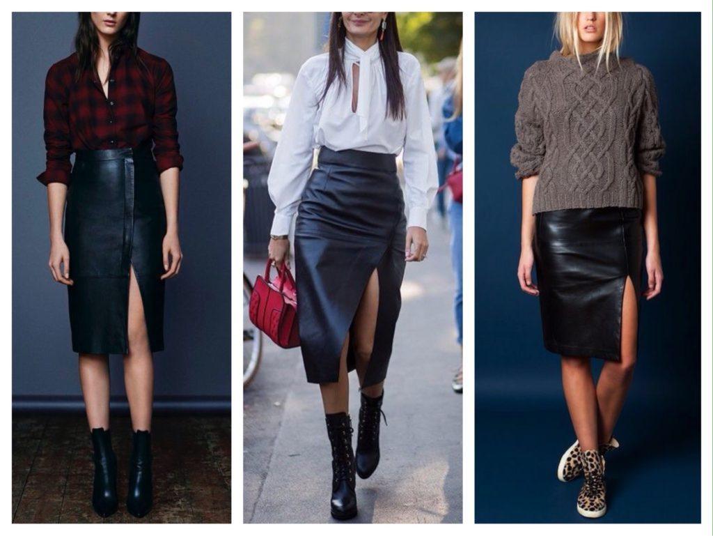 Нетривиальные образы получаются при сочетании кожаной юбки карандаш с рубашками и свитерами базовых оттенков.