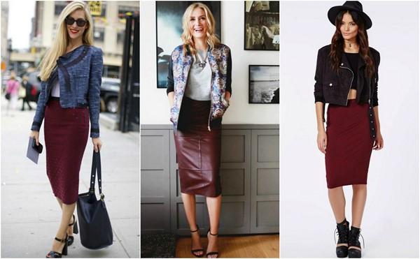 Черный, белый и голубой верх - отличное решение образа с бордовой юбкой карандашом.