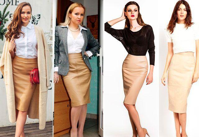 Лучшие сочетания для бежевой юбки карандаш - черный и белый верх.