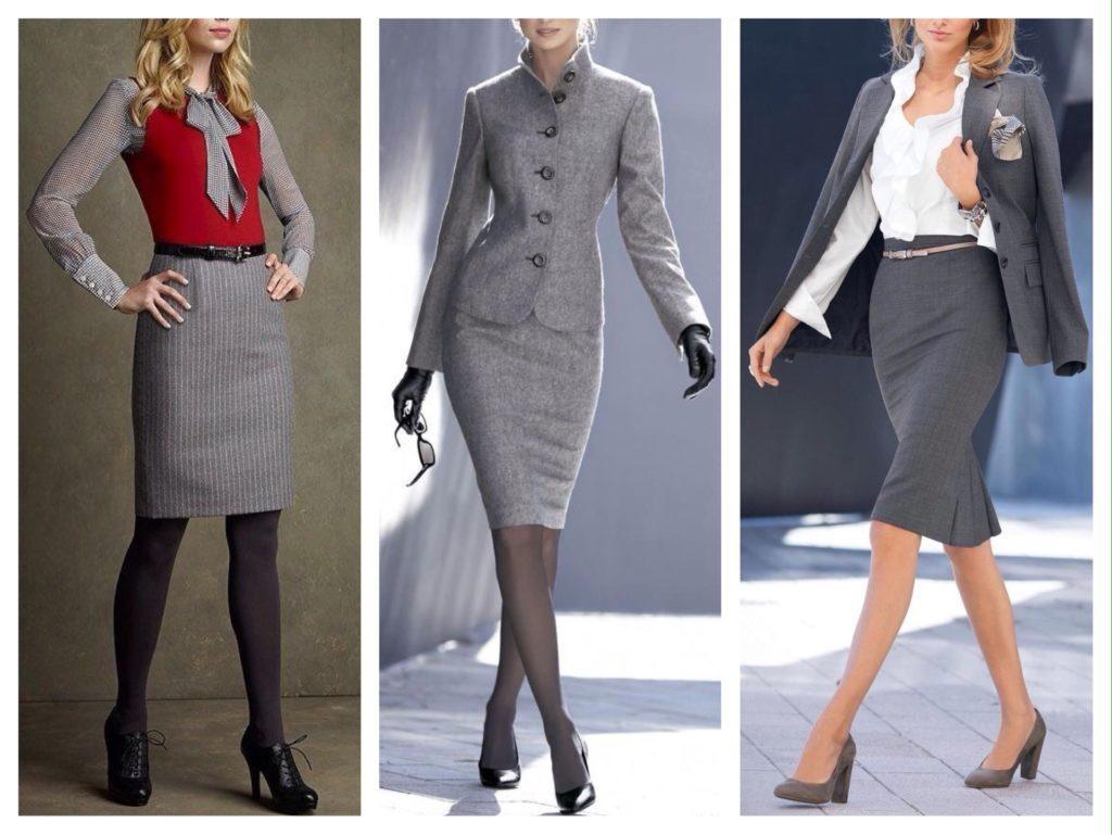 Серая юбка карандаш в сочетании с белым, серым или красным верхом - основа делового лука.