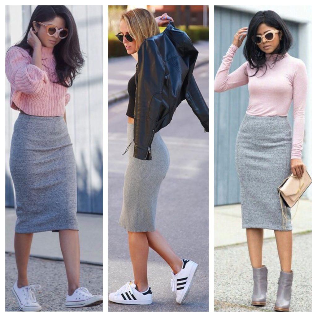 Повседневные аутфити с серой юбкой карандаш и розовым или черным верхом смотрятся уютно и женственно.