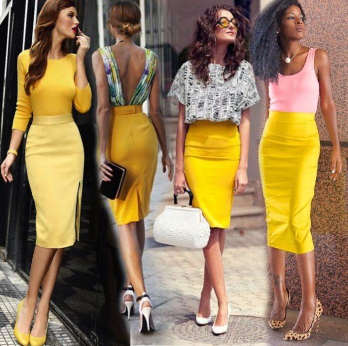 Желтая юбка карандаш отлично сочетается со светлыми или яркими блузами, майками и водолазками.