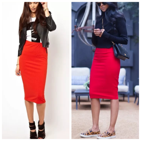 Черные куртки-косухи прекрасно дополняют руки с красной юбкой карандаш.