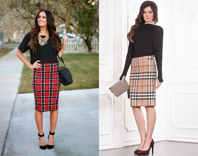 Трендовое сочетание сезона - черный верх и клетчатая юбка карандаш.