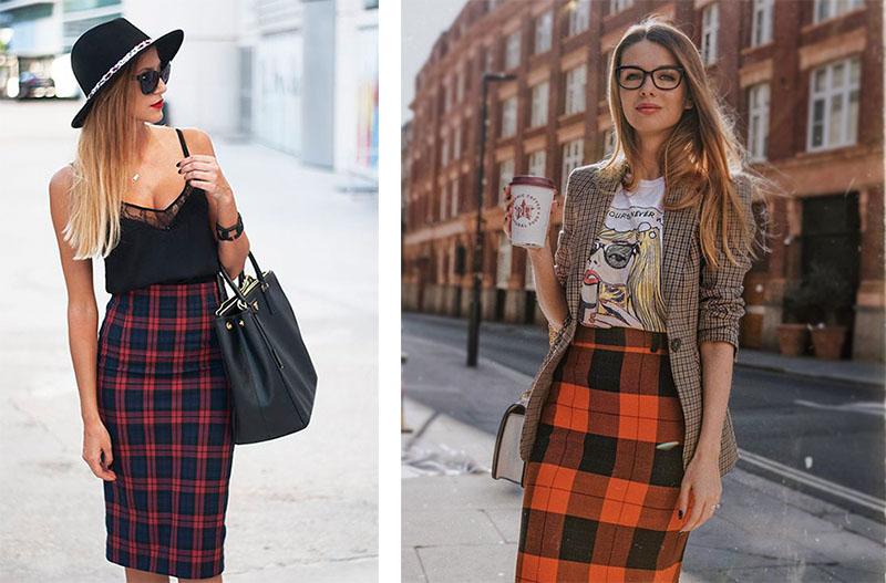 Модные луки на основе юбки карандаш в клетку и легкого верха в виде майки или футболки.