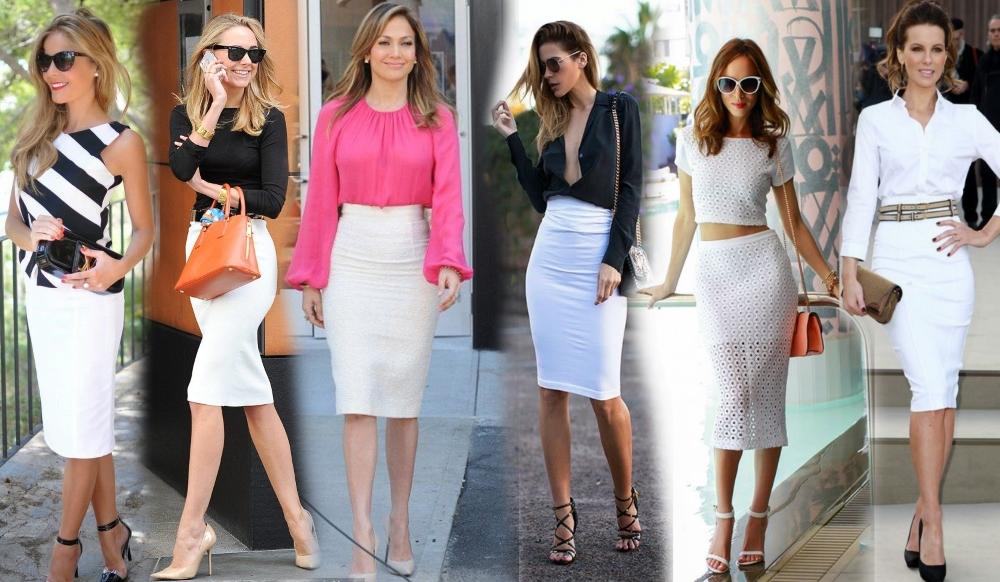 Белая юбка карандаш универсальна, сочетается с верхом практически любого цвета.