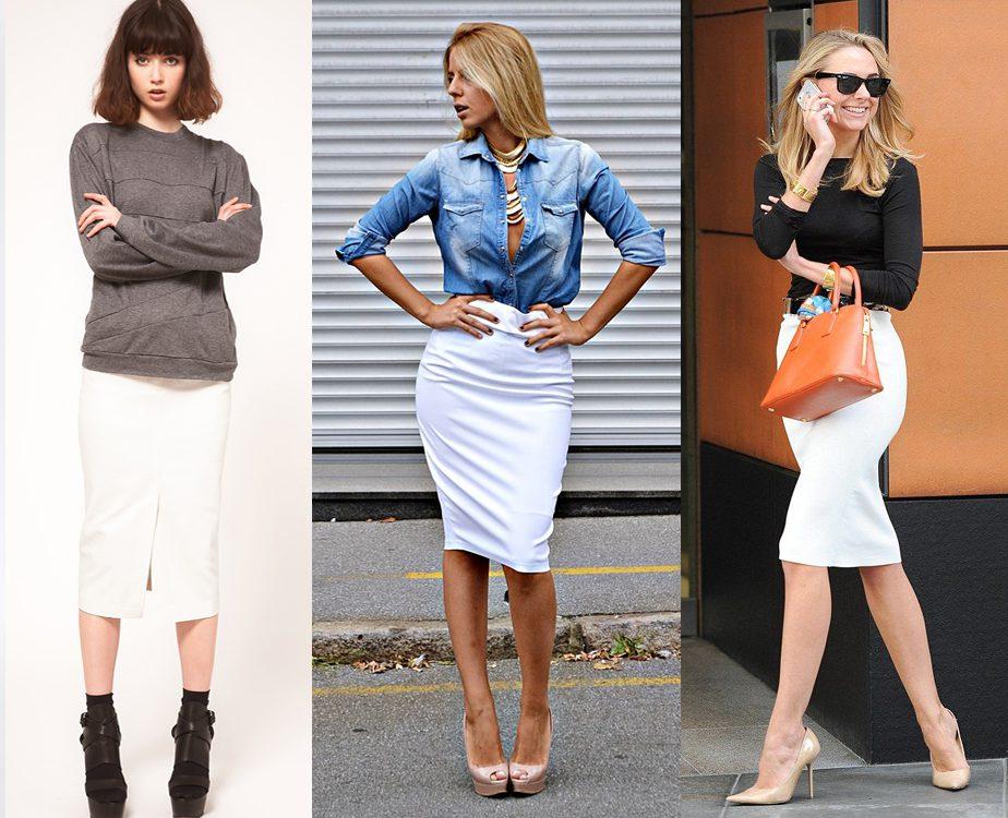 Темный верх для белой юбки карандаш - лучшее решение повседневного комплекта.
