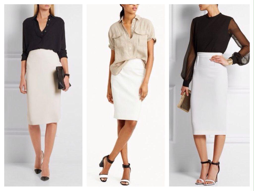 Пастель или контраст - две противоположности, одинаково удачно подчеркивающие благородство белой юбки карандаш.