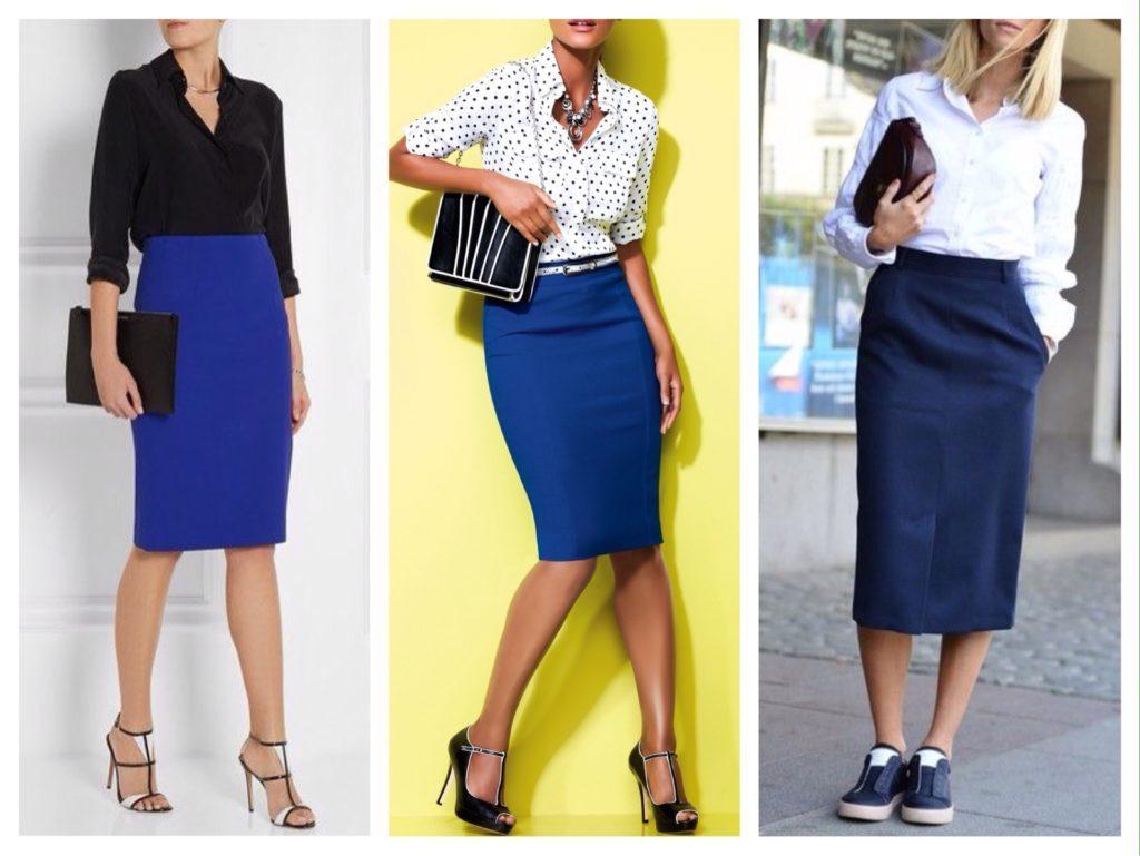 Деловые образы на основе синей юбки карандаш с белым или черным верхом.