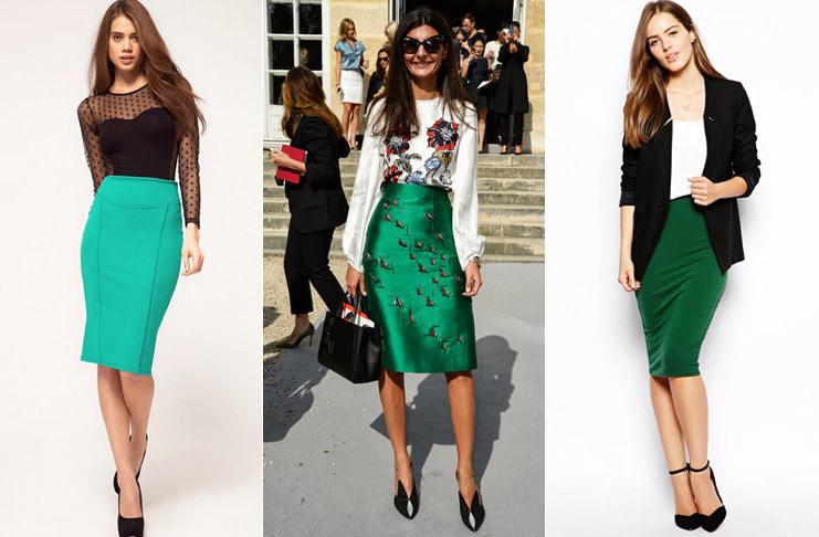 Черно-белые блузы и майки - идеальное дополнение к зеленой юбке карандаш.