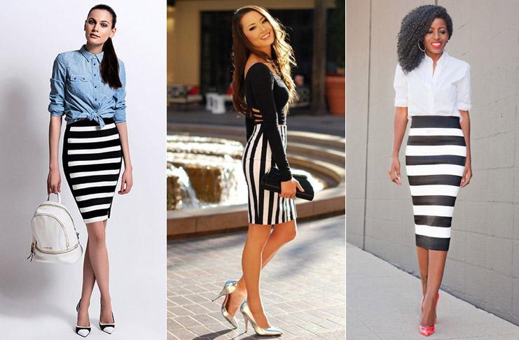 Голубой, черный и белый верх - идеальное решение для полосатой юбки карандаш.