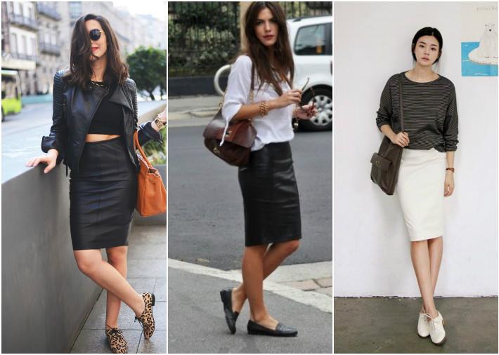 Туфли без каблука делают образ с юбкой карандаш нетривиальным и уместным в городском стиле.